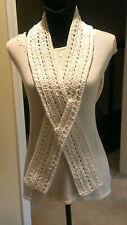 Handmade Crochet Scarf White Cancer Awareness Ribbon Scarf
