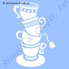 TEA CUPS STENCIL TEACUP CUP COFFEE STENCILS TEMPLATE PATTERN PAINT ART CRAFT NEW
