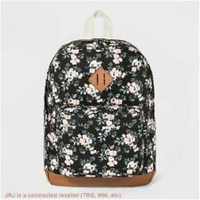 Wild Fable Womens Canvas Backpack Black Coral Floral Zipper Multi Pockets
