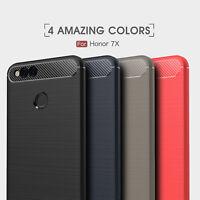 For Huawei Honor 7X / Mate SE Shockproof Armor Carbon Fiber Hybrid Brush Case