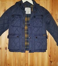 ZARA NAVY CHILD QUILED COAT/JACKET WITH HIDDEN HOOD USED  SIZE6(116CM)