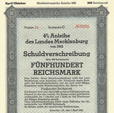 War-time German Municipal Bond Certificate WWII + Swastika (500 Reichsmark) WW2