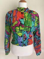 Doncaster VTG Size 8 Colorful Art Silk Top Jacket 90's 1990's Bold Floral Print