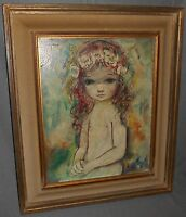 OZZ FRANCA Original Oil /Canvas GIRL w/FLOWERS in HAIR