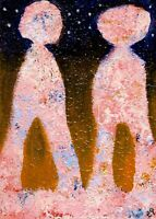 21020834 e9Art ACEO Abstract Figurative Outsider Art Brut Painting Expressionism
