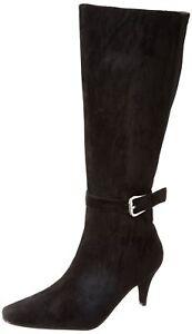 Annie Shoes Women's Valetta Boot Black Velvet Suede/Black Stretch 7 C US