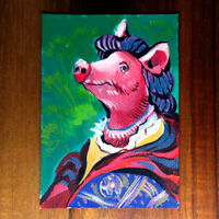 Original painting ACEO hand painted OOAK signed classic art イノシシ属 pig