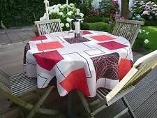 Tischdecke Provence 160 cm rund rot beige Frankreich, pflegeleicht, bügelfrei