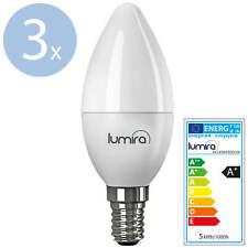 3x LUMIRA LED SMD Lampe E14 5W Watt 180° C37 Leuchte Kerze 400 Lumen Warmweiß