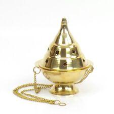 """Large Brass Hanging Incense Burner 4.5"""" Censer Resin Church Vestment Altar"""