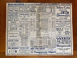 MIlwaukee Tavern Baseball Scorecard June 30, 1927 Babe Ruth Lou Gehrig NY Homers
