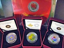 2011-14 Canada Set of 4 Colorized 25c Quarter Coins   ** Free U.S. Shipping **