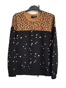 Colourful Rebel Amsterdam Midnight Leopard Sweatshirt Size L Red Lip Embroidered
