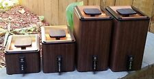 VINTAGE RETRO ATOMIC KROMEX 8 PIECE CANISTER SET BLACK - COPPER TONE - WOOD TONE