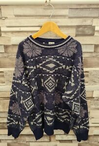WOMENS VTG 90'S DAMAGED BOLD ABSTRACT GEOMETRIC WOOL COSBY KNIT WINTER JUMPER 16