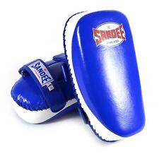 Sandee Curved Kick Pads - Blue & White Leather MMA Muay Thai Kickboxing