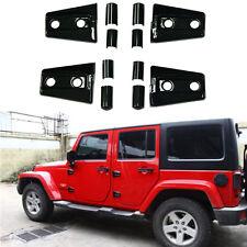 4Pcs Black Side Door Hinge Cover Trim Accessories For Jeep Wrangler 2Door 07-17