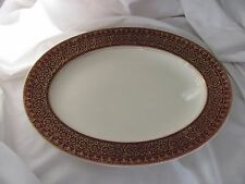 Alfred Meakin burgundy red ivory gold lace trim small platter England 11""