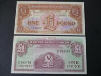 BRITISH MILITARY ARMED FORCES UNCIRCULATED BANKNOTES/ VOUCHERS TWO £1 NOTES