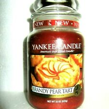 """Yankee Candle Retired """"BRANDY PEAR TART""""~Food~Large 22 oz~ WHITE LABEL~RARE~ NEW"""