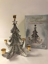 Godinger Silver Plated 5 Light Candelabra Christmas Tree Shape Original Box