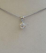 New 1/4ct Diamond Solitaire 9ct White Gold Pendant Necklace & Gold Chain £199.99