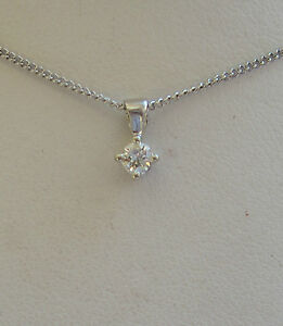 New 0.15ct Diamond Solitaire 9ct White Gold Pendant & Chain £175 Freepost