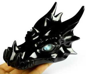 "5.0"" BLACK OBSIDIAN Carved Crystal Dragon Skull, Crystal Healing"