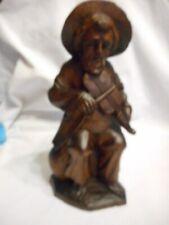 """Vintage Hand Carved Wooden Man W/ Fiddle 10"""" High Equador"""