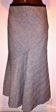 Autograph Black/grey herringbone tweed wool flared skirt size 14