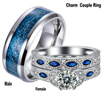 His and Hers Wedding Ring 18K White GP&Stainless Steel Engagement Band Ring Set