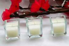 120 Square Glass Function Event Table Centrepiece Decoration White Wax Candle