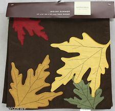 Fall Sonoma Indian Summer Brown with Leaves Table Runner 13x54 NWT