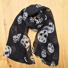 Women Girl Chiffon Soft Scarves Long Wraps Shawl Beach Silk Scarf  Skull Black