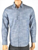 Alfani Mens Blue Shirt M New Long Sleeves Front button up Casual Party