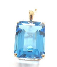 Large Blue Topaz 15*20mm Pendant Enhancer Emerald Cut 14k Yellow Solid Gold