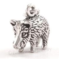 3D JAVELINA pig Animal 925 Charm Pendant solid STERLING SILVER skunk pig .925