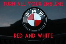 TURN YOUR BMW EMBLEM RED & WHITE - BMW Colored Emblem Roundel Overlay