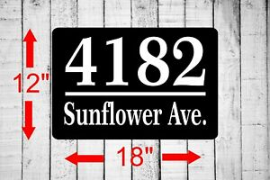 """Personalized Home Address Sign Aluminum 12""""x18"""" Custom House Number Plaque sq25"""
