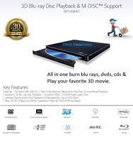 LG 3D Player ( 6x Blu-ray/ 8x DVD/ 24x CD Burner Writer) Slim External Drive NEW