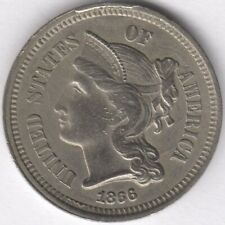 More details for 1866 u.s.a.nickel 3 cent coin | world coins | pennies2pounds