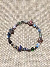 Artisan Tribal Silver Tone Multi color Paper Bead Stretch Bracelet