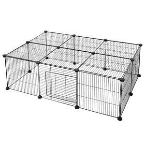 Freigehege DIY Laufstall Laufgitter Welpenauslauf Kleintier mit Tür Kaninchen