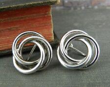 HSB Harry S. Bick Sterling Silver Circle Knot Screw Back Earrings