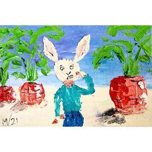 Rabbit Painting ORIGINAL Painting Banny Art on Canvas Easter Art Small Cartoon