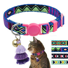 Embroidery Dog Cat Breakaway Collar Quick Release for Pets Bell Tassel Purple