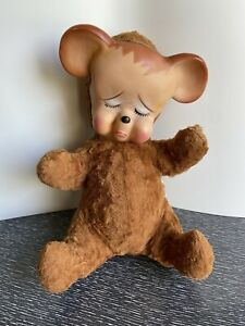"Vtg 1950s Rubber Face Pouty Bear Knickerbocker Sad Crying Pouting 12"""