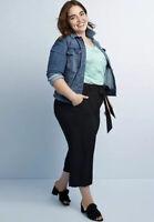 EVRI Women's Plus Size 20W Wide-Leg Cropped Soft Pants Pull-On Capri Black $56