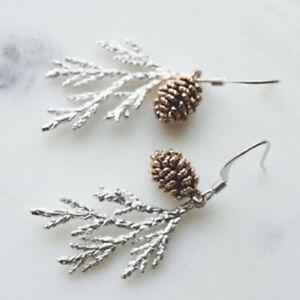 Fashion 925 Silver Women Leaf Drop Hook Earrings Handmade Pine nuts Gift Jewelry