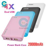 Power Bank Case 20000mAh Dual USB 4X 18650 Battery Charger DIY Box Kit For Phone